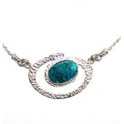 Textured Sterling Silver Oval Pendant with Eilat Stone
