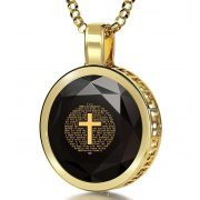 14K Gold Round Frame Psalm 23 with Cubic Zirconia Nano Jewelry