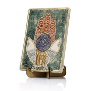 Handmade Ceramic Plaque with Hamsa Fish and Pomegranate by Art in Clay