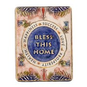 Handmade Jewish Home Blessing with Lilies by Art in Clay