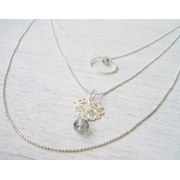 Triple Filigree Necklace in Silver - Shlomit Ofir Jewelry