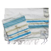 "Turquoise and Gold Christian Prayer Shawl (72"" x 22"")"