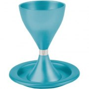 Turquoise Colored Anodized Alluminum Modern Kiddush Cup and Plate