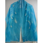 Turquoise Silk Tallit with Hand painted White Waves