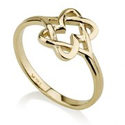 Two Hearts Forming a Star of David 14K Gold Ring