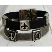 Unique Leather Bracelet with Silver Luck Cuffs