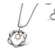Unique Silver & Gold Star of David Necklace