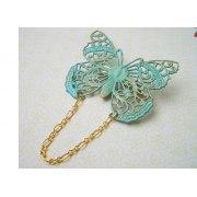 Verdigris Filigree Butterfly Brooch - Shlomit Ofir Jewelry
