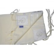 White and Silver Stripes Wool, Tallit Prayer Shawl (18x73 inch)