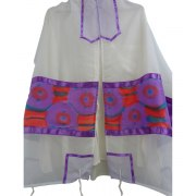White Silk Tallit with Hand Painted Spring Flowers Design