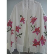 White Silk Tallit with Hand Painted Wild Flowers