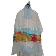 White Silk Tallit Prayer Shawl with Israel Landscape Design