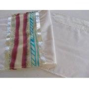 White Wool Tallit with Desert Spring Design Silk Stripes