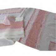 White Wool Tallit with Silk Pink Star of David Pattern