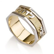 14K Yellow Gold Ani Ledodi Ring with Angular white Gold Frame