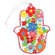 Wooden Hamsa Laser Cut Flowers with Pink Frame