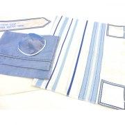 Wool Blue and Light Blue Striped Tallit Prayer Shawl by Galilee Silks