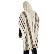 Talitania Wool Tallit Prayer Shawl with Bordeaux and Gold Stripes