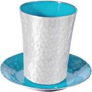 Yair Emanuel Aluminum Kiddush Cup with Turquoise Enamel