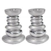 Yair Emanuel Aluminum Shabbat Candlestick Stone Tower Silver