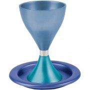 Anodized-Aluminum Kiddush Cup - Turquoise / Purple