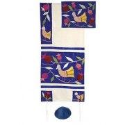 Yair Emanuel Birds in Blue, Raw Silk Tallit