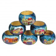 Yair Emanuel Hand Painted Wood Napkin Ring Set (6)