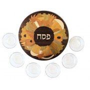 Yair Emanuel Inlaind Wood Passover Seder Plate with Glass Bowls - Jerusalem