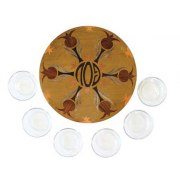 Yair Emanuel Inlaind Wood Passover Seder Plate with Glass Bowls - Pomegranates