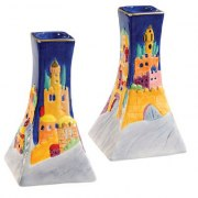 Yair Emanuel Painted Ceramic Candlestick Set