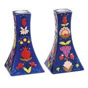 Yair Emanuel Painted Ceramic Candlestick Set