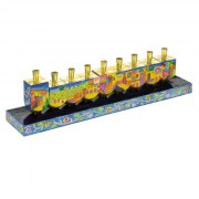 Dreidel Hanukkah Menora With Jerusalem Design- Painted Wood