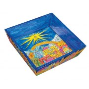 Yair Emanuel Painted Wood Passover Matzah Tray - Jerusalem Old City