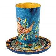 Yair Emanuel Painted Wood Kiddush Cup & Saucer - Oriental