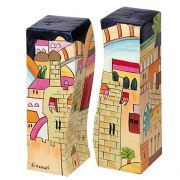 Yair Emanuel Painted Wood Salt & Pepper Shaker Set