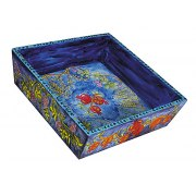 Yair Emanuel Painted Wood Passover Matzah Tray - Seven Species