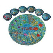 Yair Emanuel Painted Wood Passover Seder Plate Seven Species