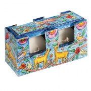 Yair Emanuel Travel Candlestick Case with Cover Gazelle and Birds