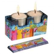 Yair Emanuel Travel Candlestick Case with Cover Jerusalem