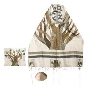 Yair Emanuel Tree of Life , Raw Silk Tallit Prayer Shawl