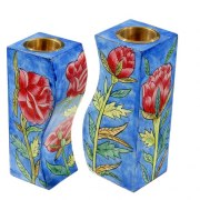 Yair Emanuel Wood Curved Candlesticks Roses
