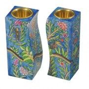 Yair Emanuel Wood Curved Candlesticks Tree Creatures
