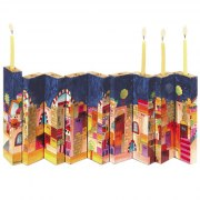 Jerusalem Wooden Accordion Hanukkah Menorah - open