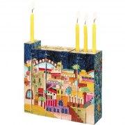Jerusalem Wooden Accordion Hanukkah Menorah - close