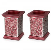 Yair Emanuel Maroon Candlesticks with Stainless Steel Pomegranate Cutout
