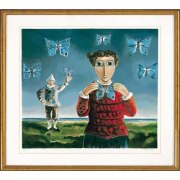 Yosl Bergner  -  Girl with Butterflies - Israel Art