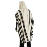 Talitania Malchut (Royalty) Wool Tallit with Black Stripes