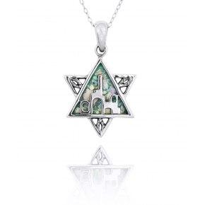 Silver Jerusalem Star of David Pendant with Roman Glass