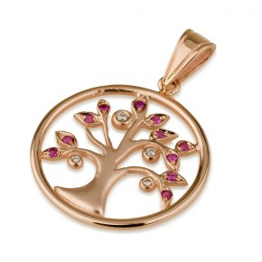 14K Rose Gold Tree of Life set with Diamonds and Rubies in Round Frame