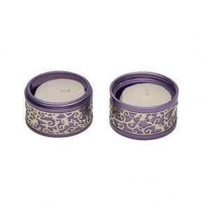 Emanuel Judaica Metal Cutout Of Pomegranates Purple Travel Candlesticks Aluminum Shabbat Candles